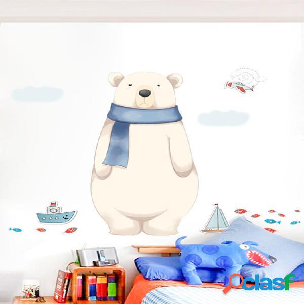 Miico 2 pcs adesivo de parede dos desenhos animados bonito urso polar impressão quarto de crianças decoração do jardim d