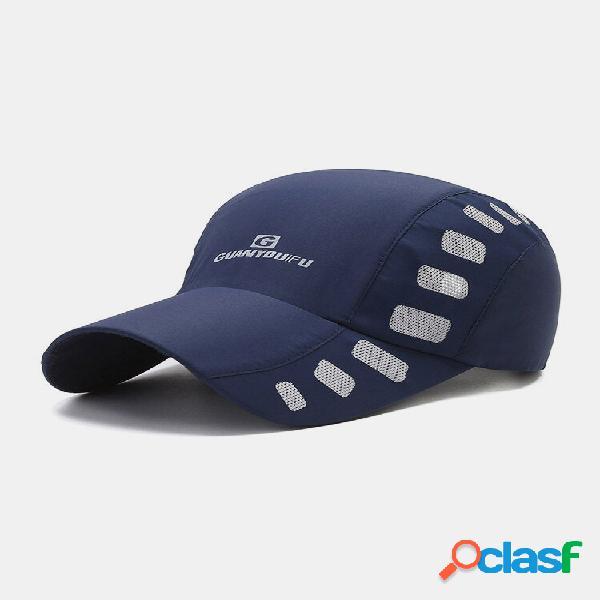 Malha unissex de secagem rápida de cor sólida para sol para viagem beisebol respirável chapéu