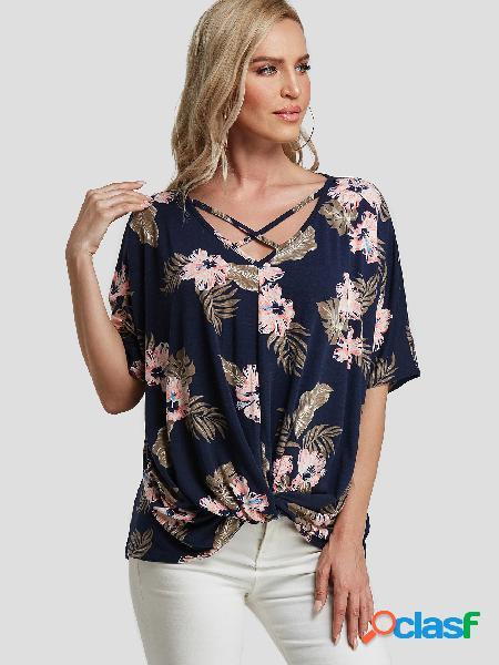 Camiseta de mangas curtas com estampa floral cruzada marinha com decote em v