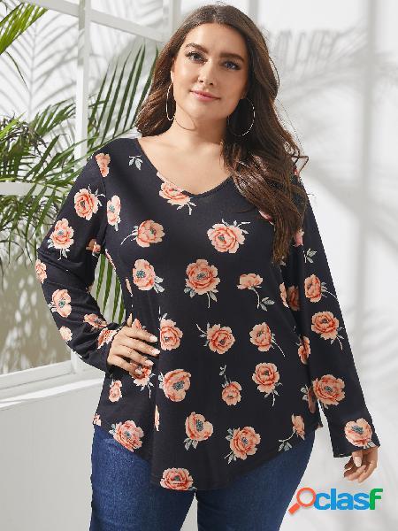 Camiseta de mangas compridas estampa floral com decote em v plus