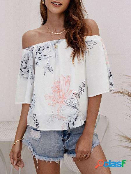Blusa de chiffon elástica com estampa floral aleatória em branco