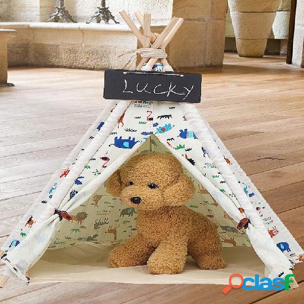Animais de estimação tenda tenda cães casa lona simulação playhouse tipi exterior interior