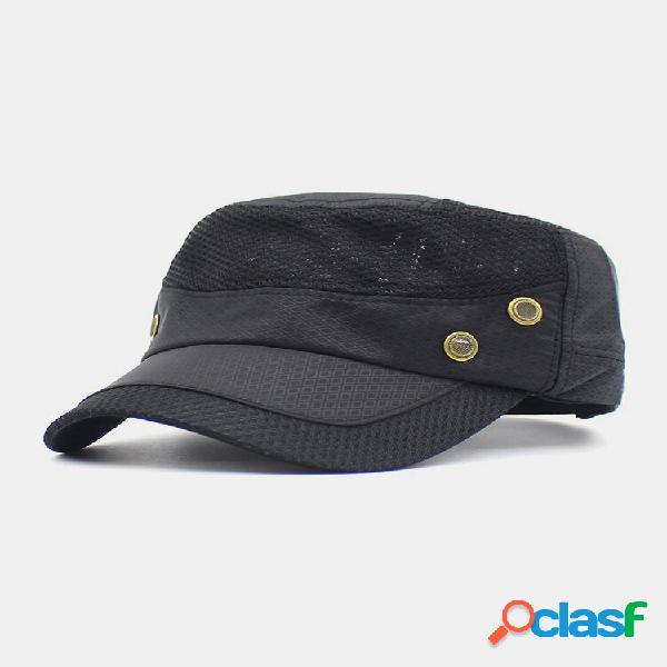 Malha masculina de algodão cor sólida respirável de secagem rápida militar chapéu