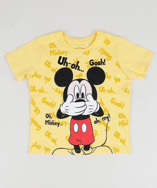 Camiseta infantil mickey manga curta gola careca amarela
