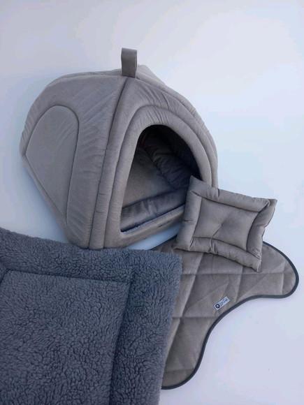 Casinha iglu para pets suede e pelúcia 70x70 com 5 peças