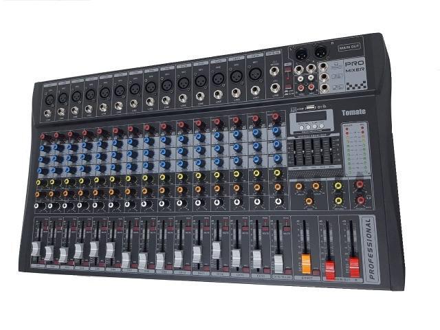 Mesa de som 16 canais profissional entrada p10 estéreo