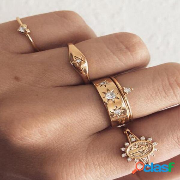 Conjunto de anéis geométricos vintage de pêssego coração totem de strass pingente joias da moda