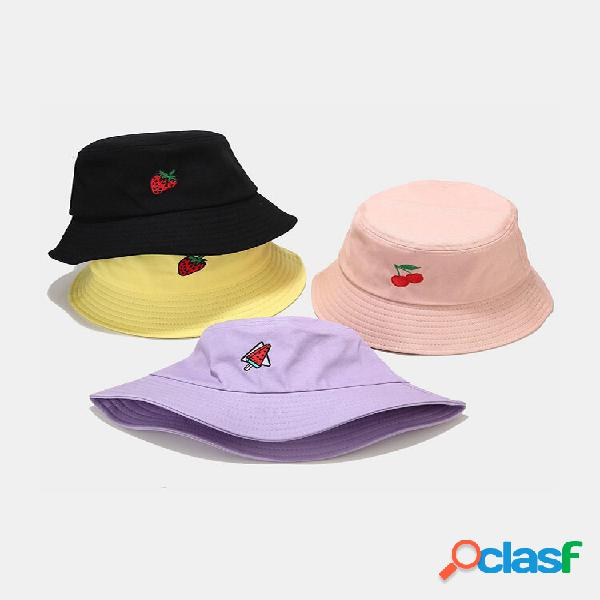 Mulheres e homens algodão fruta bordado balde chapéu