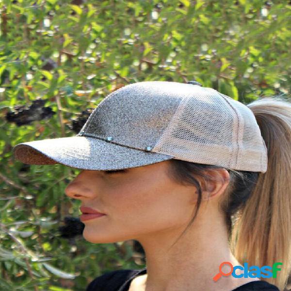 Visor feminino simples casual cor sólida respirável malha sol chapéu beisebol chapéu