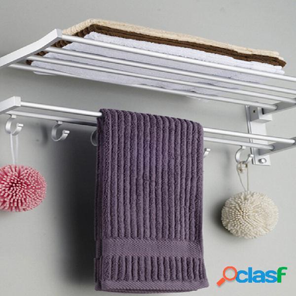 Alumínio banheiro toalha rack polido montado na parede toalha trilho com 5 ganchos cabide