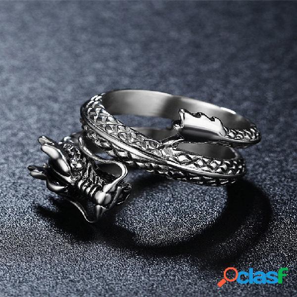 Anéis de dedo vintage chinês dragão anéis de aço inoxidável multicamadas joias étnicas para homens