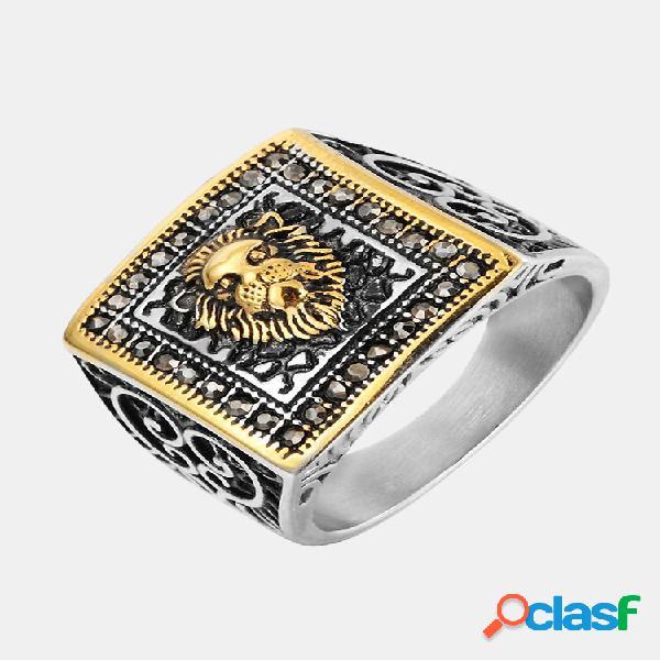 Anéis de dedo vintage cabeça de leão gravada padrão anéis quadrados de aço inoxidável joias étnicas para homens