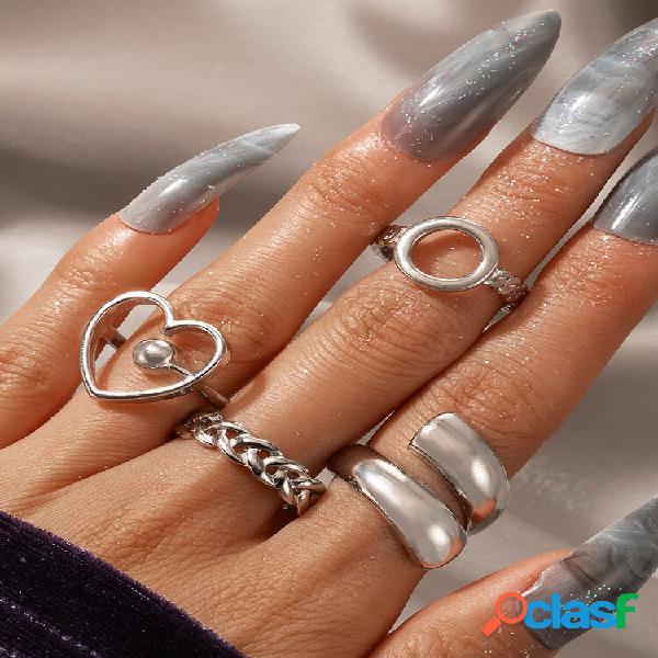 Anéis de abertura geométricos personalizados exagerados do círculo do amor do alloy vintage 4 pcs