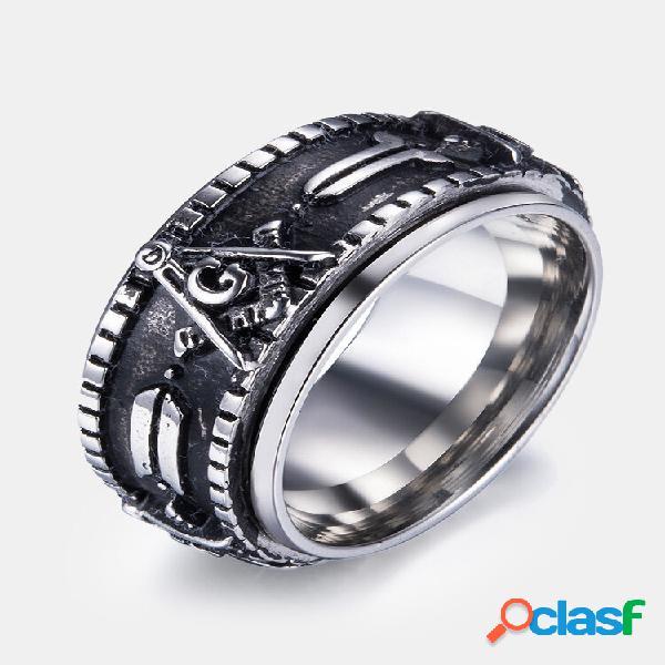 Anéis de dedo vintage maçônicos padrão anéis giratórios de aço inoxidável étnico joalheria para homens