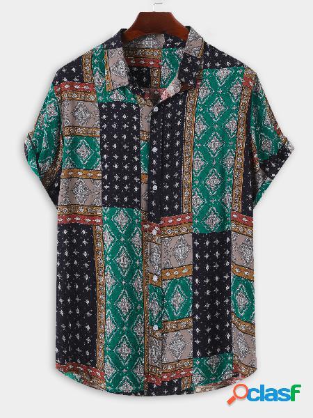 Homens verão algodão havaí all over print tribal praia feriado camisa