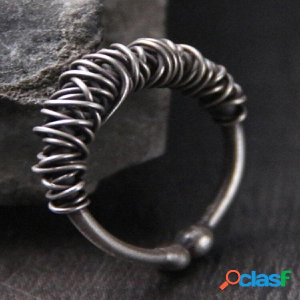 Anéis em forma de trama de prata esterlina vintage 925, masculino, feminino