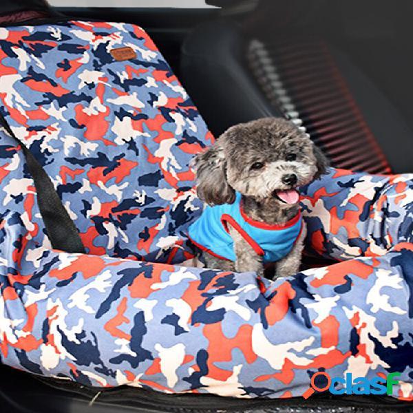 Cama de assento de carro de camuflagem pet dog cat car tampa de segurança seat carrier para o inverno