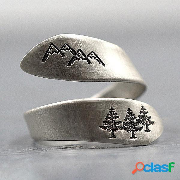 Anéis sinuosos vintage s925 prata tailandesa feita à mão no pico da montanha verde árvore floresta