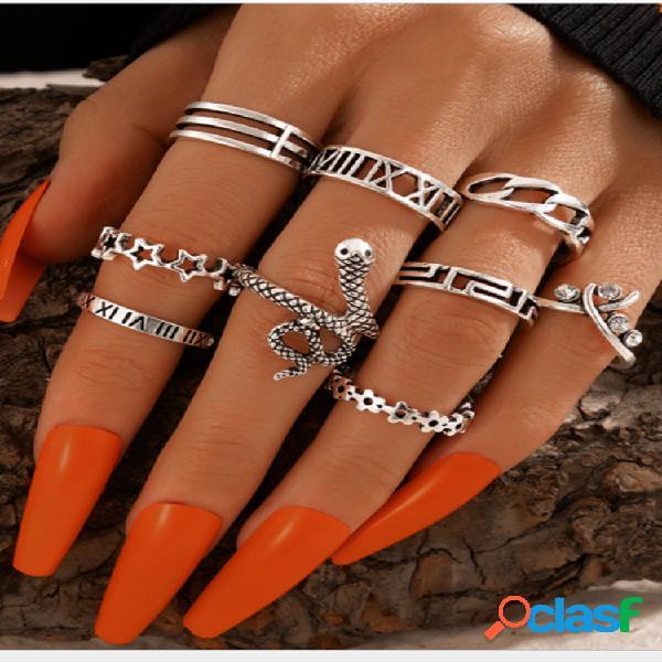 Conjunto de anéis alloy vintage ethnic 9 pcs conjunto de anéis estrela de cinco pontas em forma de cobra