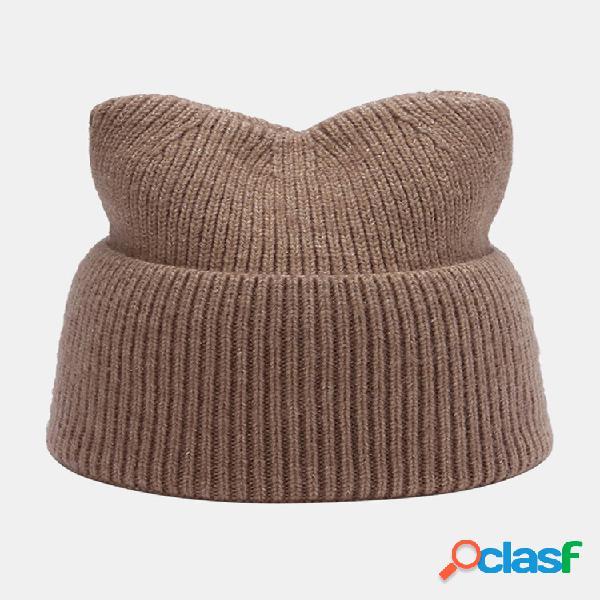 Feminino quente elástico casual cor sólida gato bonito orelha malha chapéu gorro sem aba