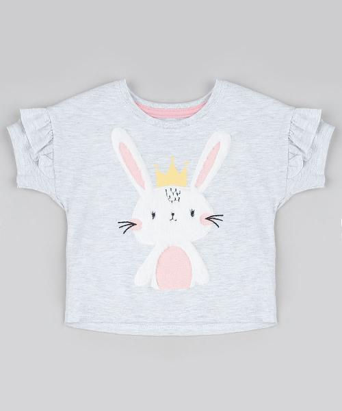 Blusa infantil coelha com babado manga curta decote redondo