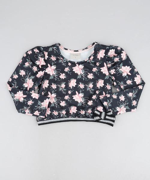 Blusa infantil floral com laço manga longa preta