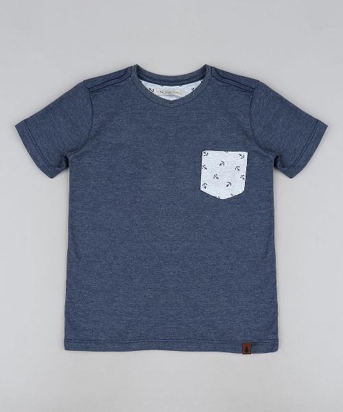 Camiseta infantil com bolso manga curta azul marinho mescla