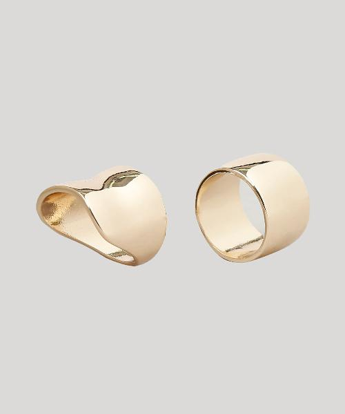 Kit de 2 anéis femininos orgânico dourado