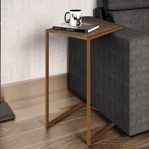 Mesa lateral encosto para sof/u00e1 artesano industrial