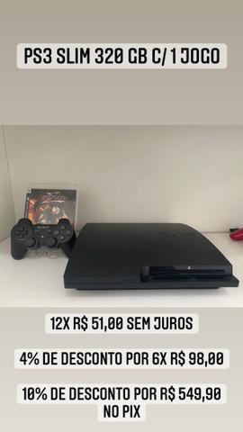 Ps3 slim 320 gb c/ 1 controle + 1 jogo