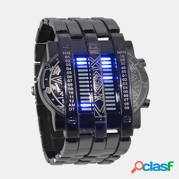 Personalidade full steel men watch led pulseira militar binária digital watch