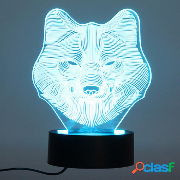 Decbest 3d wolf night light 7 cor change led desk mesa de lâmpada toy gift bedroom home decor