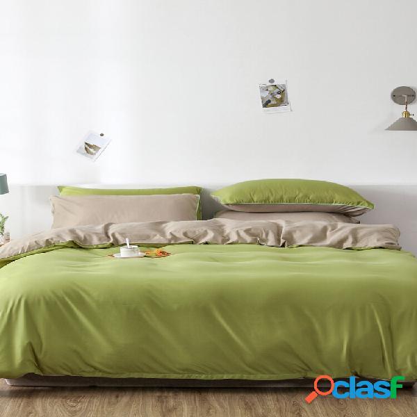 2/3 unidades verde ab lado liso cor liso confortável cama conjunto de capa de edredon fronha conjunto de edredom cama de