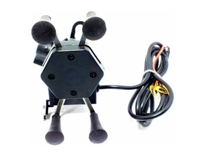 Suporte aranha carregador moto celular fixa retrovisor- usb