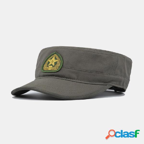 Estampa de bordado masculino camuflagem de algodão estampa susnhade outdoor casual plana chapéu boné bico militar chapéu