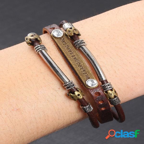 Couro vintage metal pingente pulseiras multicamadas punk acessórios casuais presente para homens