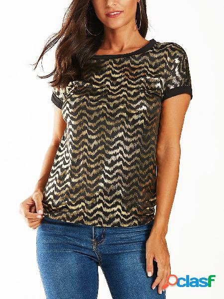 Yoins camiseta de mangas curtas com estampa preta dourada com estampa redonda de pescoço