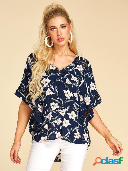 Yoins blusa com estampa floral azul escuro com decote em v oco design