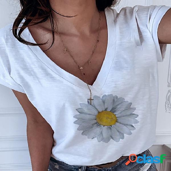 Camiseta de mangas curtas com estampa da margarida branca com decote em v