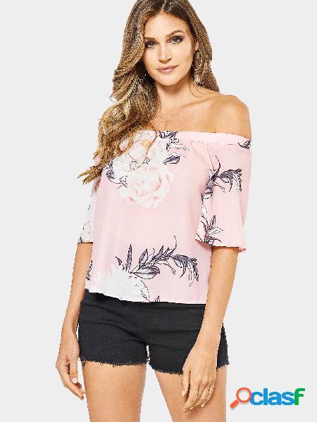Blusa de chiffon elástica com estampa floral aleatória em rosa