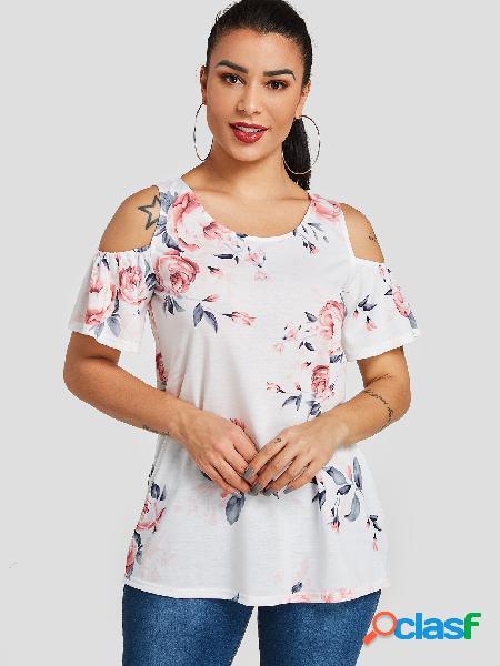 Camiseta de mangas curtas com estampa floral branca aleatória de ombro frio