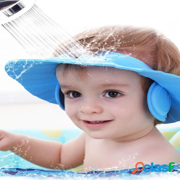 Proteger orelha soft tampas criança shampoo touca de banho banho chapéu borracha ajustável