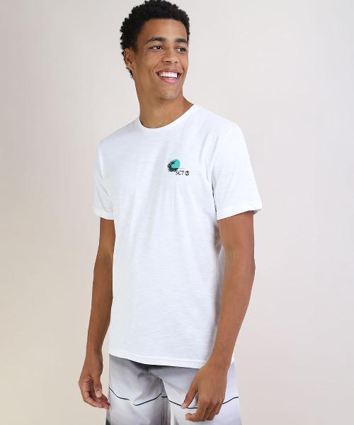 Camiseta masculina folha manga curta gola careca branca