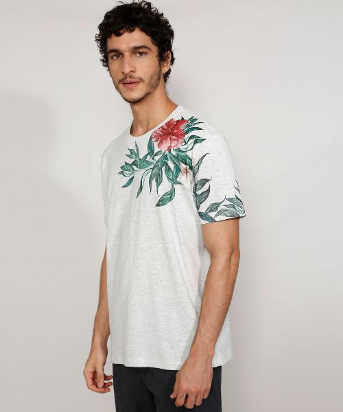 Camiseta masculina manga curta gola careca com estampa