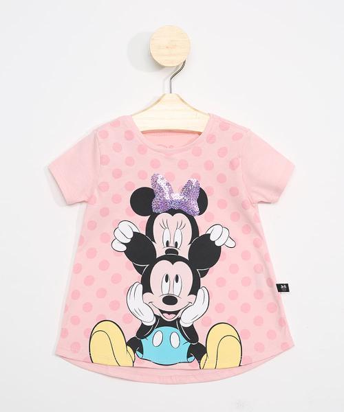 Blusa infantil manga curta mickey e minnie com paetês rosa