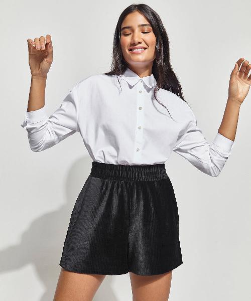 Camisa ampla de algodão manga longa mindset branca