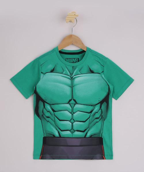 Camiseta infantil hulk manga curta verde