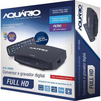 Conversor digital aquário dtv-7000 hdtv gravador + cabo