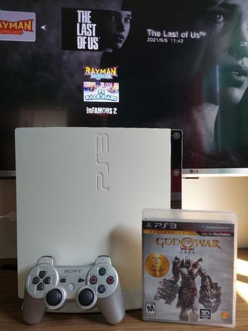 Playstation 3 slim branco - desbloqueado/pouco uso