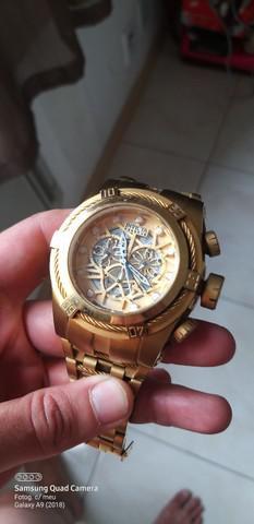 Relógio invicta 12763 bolt zeus dourado cronografo troco